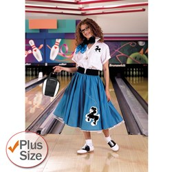Complete Poodle Skirt Outfit (Turquoise & White) Adult Plus Costume