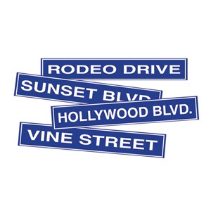 Hollywood Road Sign Cutouts (4 count)