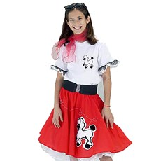 Complete Poodle Skirt Outfit (Red & White) Child Costume