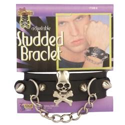 Studded Skull Bracelet With Chain