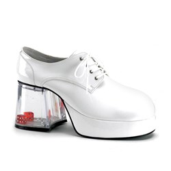Pimp with Dice Heel (White) Adult Shoes