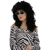 80's Wild Curl Black Wig Adult