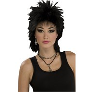 80's Rock Idol Wig (Black) Adult