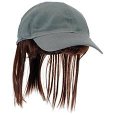 Adult Gray Baseball Cap with Brown Bangs