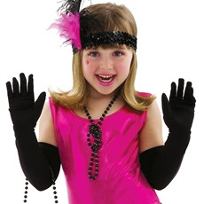 Black Long Child Gloves
