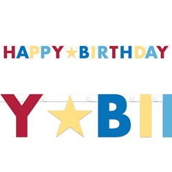 Red/Blue/Gold Happy Birthday Banner