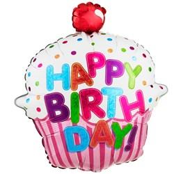 "Happy Birthday Pink Cupcake 31"""" Jumbo Foil Balloon"