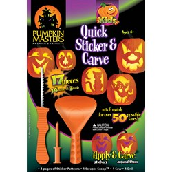 Kids Quick Sticker and Carve Pumpkin Decorating Kit (17 pcs)