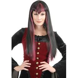 Gothic Vampira (Black/Red) Adult Wig
