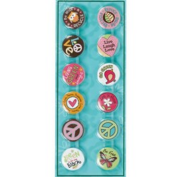 Hippie Chick Buttons Assorted (12 count)