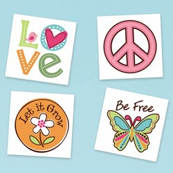 Hippie Chick Temporary Tattoos Assorted (24 count)