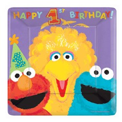 Sesame Street 1st – Square Banquet Dinner Plates (18 count)