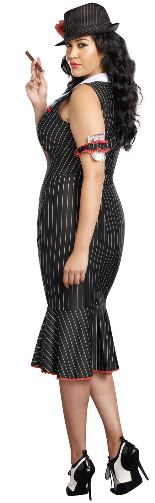 Deadly dames gangster plus size costume for adults