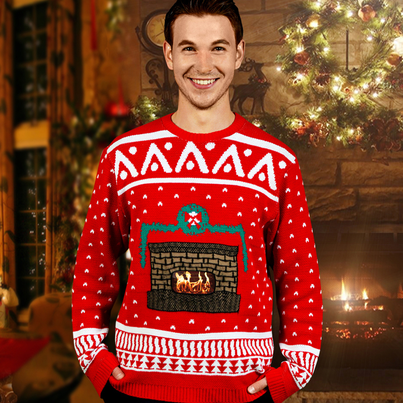 Knit Crackling Fireplace Ugly Christmas Sweater Adult ...