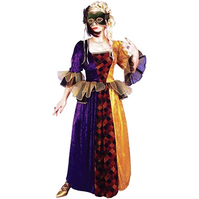 Mardi Gras Queen Adult Costume. Includes: long two-toned gown with ...