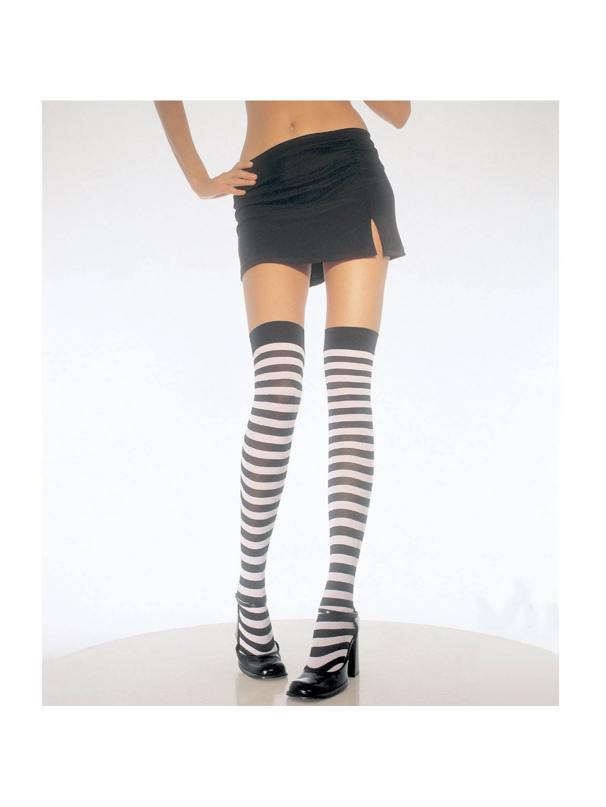 Black White Stripe Thigh High Tights