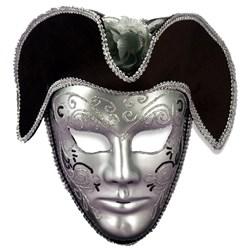 Venetian Mask Silver W/Headpiece