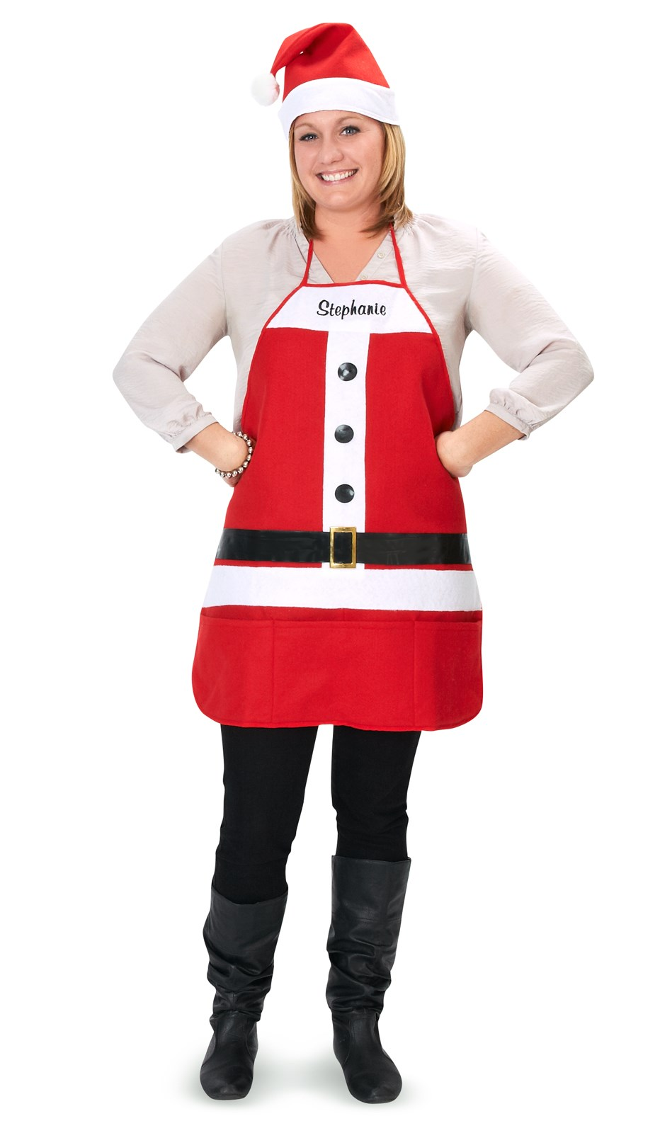 Holiday Embroidered Apron Hat Set Costume