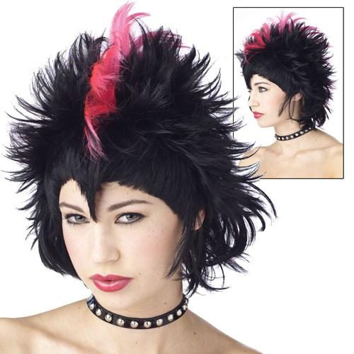 Rockin Mohawk Wig Black/Hot Pink Adult