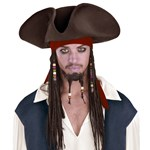Jack Sparrow Pirate Hat With Beaded Braids Adult