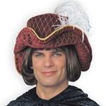 Minstrel Hat W/Plume Burgundy Hat