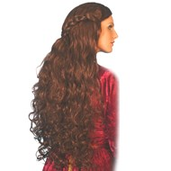 Medieval Long Brown Wig Adult