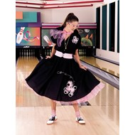 Complete Poodle Skirt Outfit (Black & Pink)  Adult
