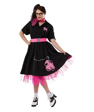 Complete Poodle Skirt Outfit Black & Pink Adult Plus Costume
