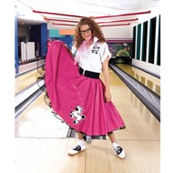 Complete Poodle Skirt Outfit (Pink & White)  Adult