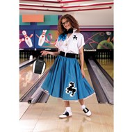 Complete Poodle Skirt Outfit (Turquoise & White)  Adult