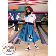 Complete Poodle Skirt Outfit Plus (Turquoise & White)  Adult