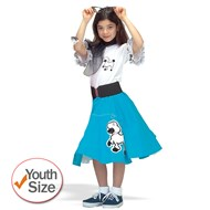 Complete Poodle Skirt Outfit (Turquoise & White)  Child