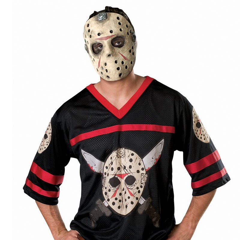 Friday the 13th Jason Hockey Jersey with Mask Adult Costume for the 2015 Costume season.