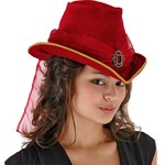 Blood Red Victorian Top Hat