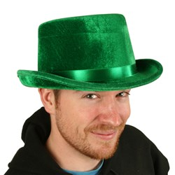 Green Felt Top Hat is made of polyester and has a satin ribbon hatband.