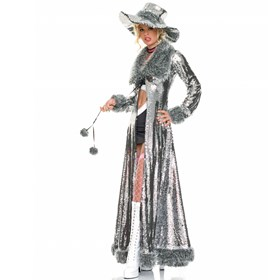 Pimpette Coat And Hat  Adult Costume Kit