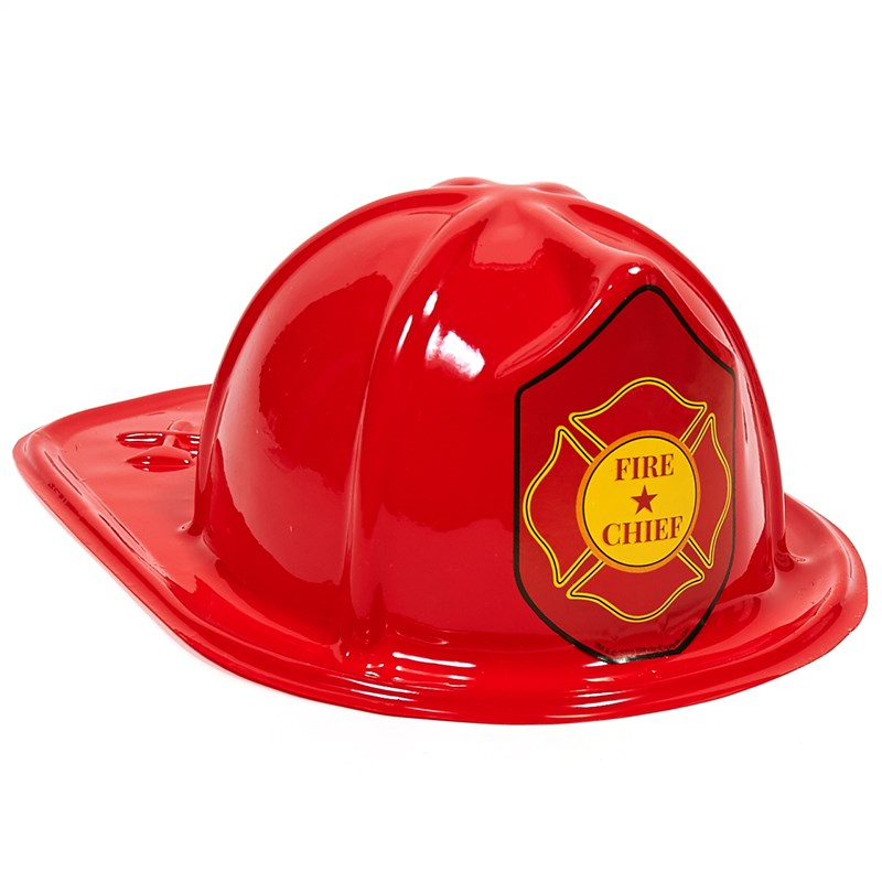 Child Size Red Plastic Fire Chief Hat for the 2015 Costume season.