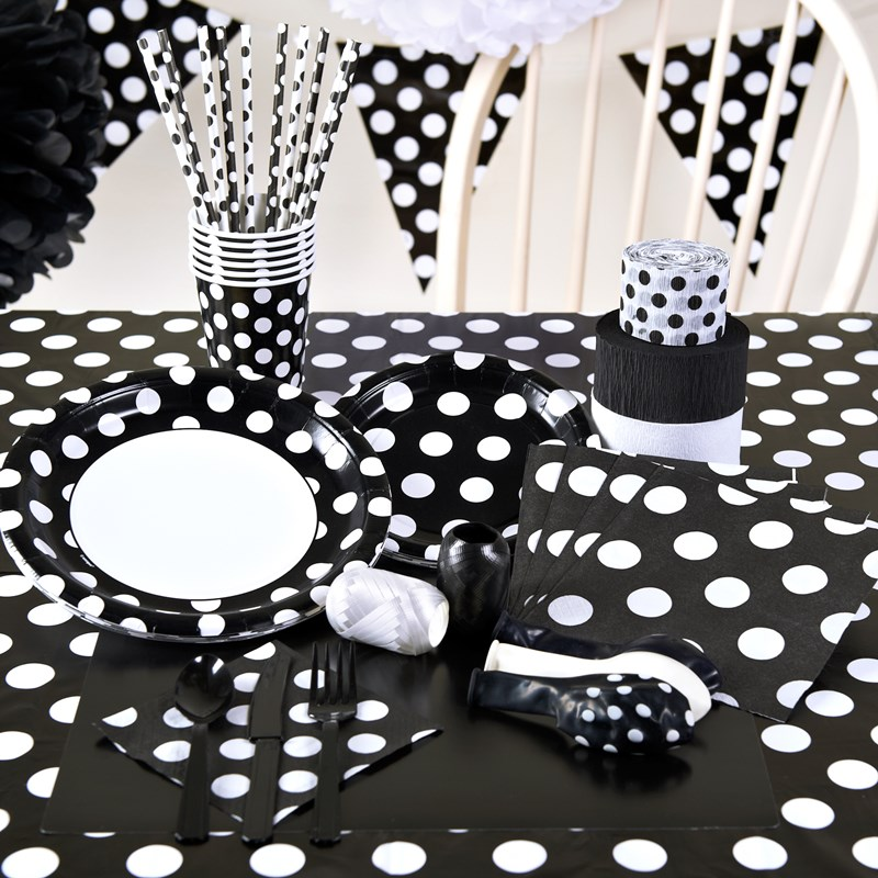 Black and White Dots Party Supplies for the 2015 Costume season.