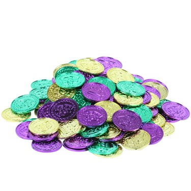 Mardi Gras Plastic Coins Asst. (Bag of 100)