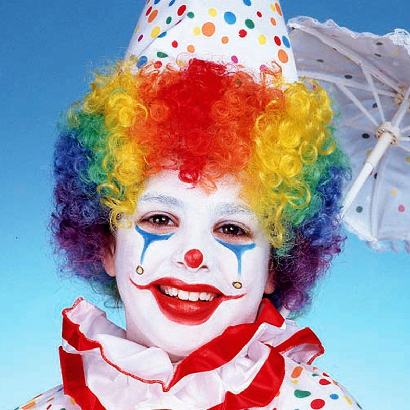 Childs Rainbow Clown Wig for the 2015 Costume season.