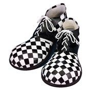 Black and White Checkerboard Large Clown Shoes