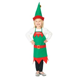 Elf Holiday Apron and Hat Child