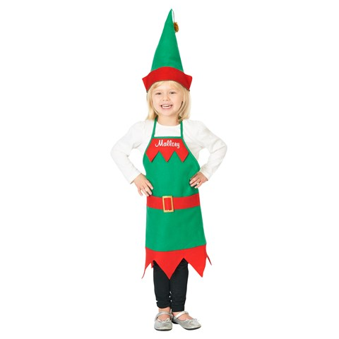 Elf Embroidered Holiday Apron and Hat Child