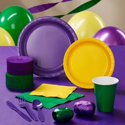 Purple, Yellow and Green Deluxe Party Kit