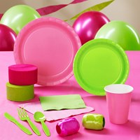 Lime Green and Hot Pink Party Supplies