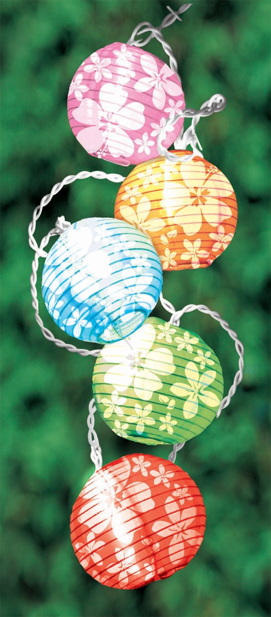 Image of 11' Round Lanterns with Hibiscus String Lights