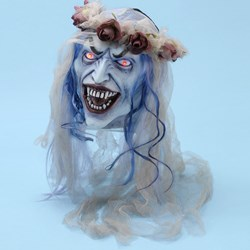 Hanging Bride's Head With Light-Up Eyes Animated Prop
