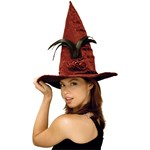 Burgundy Sequin Feather Witch Hat