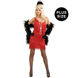 Fashion Flapper (Red) Adult Plus Costume