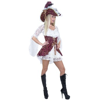 Lacy+Pirate+Wine+Corset+w/+Hat+Adult+Costume